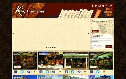 Screenshot of Contact Page Locations Page koh-thai.co.uk - Locations of Koh Thai Tapas Restaurants in Bath, Boscombe, Bournemouth and Southsea | Award Winning Restaurant in South | Koh Thai Tapas takeaway | Thai Tapas Restaurant | Thai Tapas food | Thai Tapas Bar - captured Feb. 12, 2016