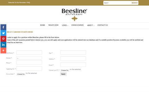 Screenshot of Jobs Page beesline.com - Careers - captured Oct. 10, 2017
