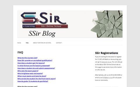 Screenshot of FAQ Page ssir.co.za - FAQ | SSir Online School Blog - captured Sept. 30, 2014
