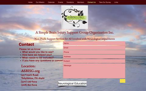Screenshot of Contact Page asbisg.org - ASBISG.org Neurological Impairments and Brain Injury Resource Center - captured Aug. 3, 2017