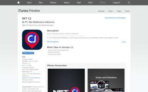Screenshot of iOS App Page apple.com - NET CJ on the App Store on iTunes - captured Nov. 1, 2014