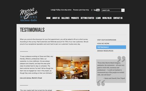 Screenshot of Testimonials Page morrisblack.com - Kitchen and Bathroom Remodeling | Reviews and Testimonials | Morris Black - captured Oct. 26, 2014