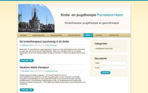 Screenshot of Blog kinder-enjeugdtherapie.nl - Kinder -en Jeugdtherapie in Purmerend | Kinder en jeugdtherapie - captured Sept. 20, 2018