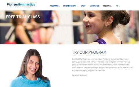 Screenshot of Trial Page pioneergymnastics.com - Free Trial – Pioneer Gymnastics - captured May 17, 2017