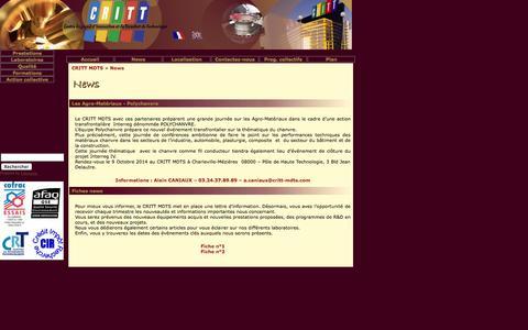 Screenshot of Press Page critt-mdts.com - CRITT-MDTS : News - captured Sept. 26, 2014