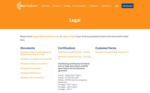 Screenshot of Privacy Page Terms Page macstadium.com - MacStadium Legal and Privacy Information - captured Nov. 5, 2018