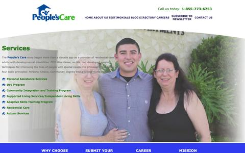 Screenshot of Services Page peoplescare.com - People's Care - Residential Care / Developmental Disabilities / Health Care - Chino Hills, California - Services - captured Feb. 10, 2016