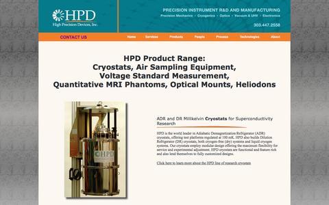 Screenshot of Products Page hpd-online.com - Cryostats, Air Sampling Equipment, Voltage Standard Measurement, Quantitative MRI Phantoms & Custom Optical Mounts | HPD - captured Nov. 25, 2016