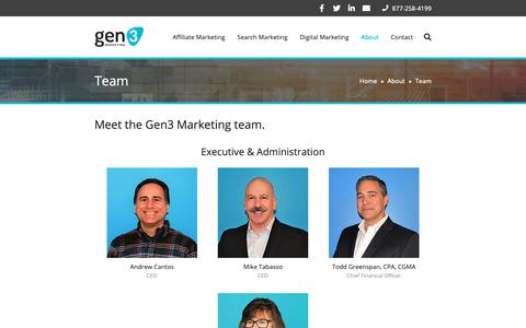 Screenshot of Team Page gen3marketing.com - Our Team | Gen3 Marketing - captured Feb. 17, 2019