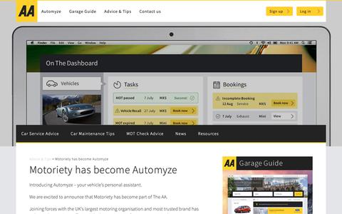 Screenshot of Login Page theaa.com - Motoriety has become Automyze | Advice & Tips - captured Oct. 18, 2018