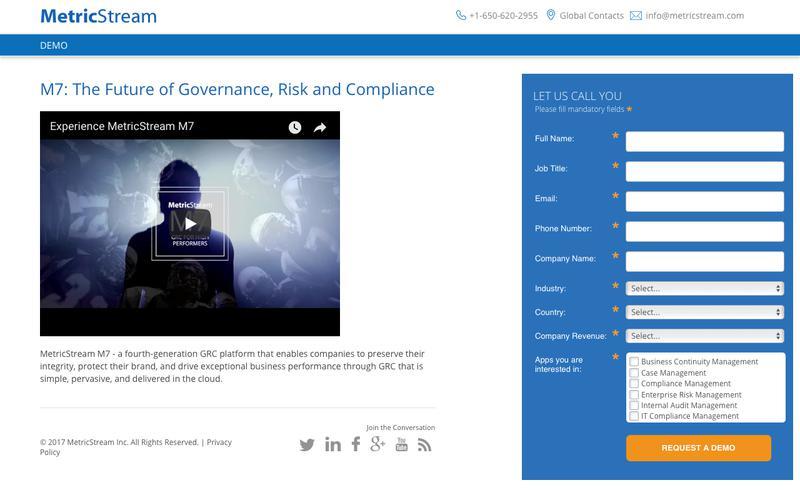 Demo Center: Governance, Risk, Compliance (GRC) & Quality Management Systems - MetricStream