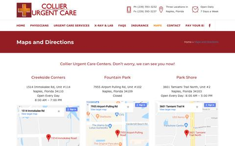 Screenshot of Maps & Directions Page collierurgentcare.com - Collier Urgent Care     Maps and Directions - captured Sept. 28, 2018