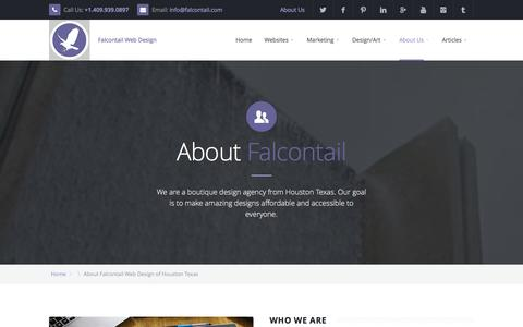Screenshot of About Page falcontail.com - About Falcontail Web Design Houston TX - captured Oct. 5, 2014