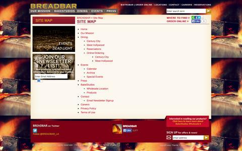 Screenshot of Site Map Page breadbar.net - Site Map | BREADBAR - captured Sept. 30, 2014