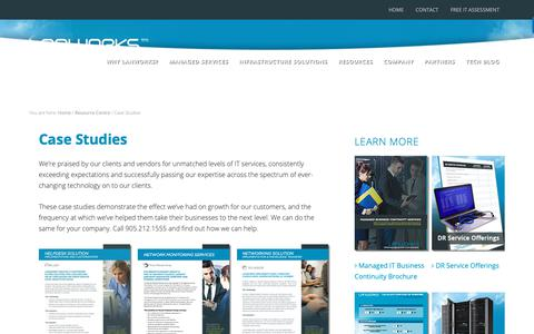 Screenshot of Case Studies Page lanworks.com - Case Studies | Lanworks - captured Sept. 27, 2018