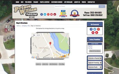 Screenshot of Maps & Directions Page pwmarina.com - Map and Driving Directions Prince William Marina Woodbridge, VA (800) 216-BOAT - captured Jan. 31, 2016