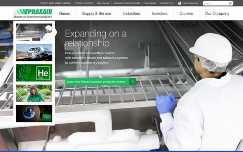 Screenshot of Home Page praxair.com - Industrial Gases, Supply, Equipment & Services | Praxair, Inc. - captured Jan. 26, 2016