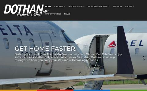 Screenshot of Home Page flydothan.com - Dothan Regional Airport-Fly Dothan. Fly Convenient. - captured Nov. 14, 2018