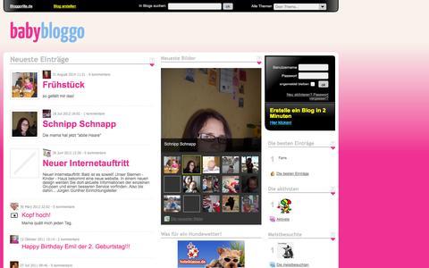 Screenshot of Home Page babybloggo.de - Starte dein kostenloses Blog bei BABYBLOGGO: Blog mit unbegrenztem Speicherplatz für Bilder, Videos und MP3! | Babybloggo.de - captured Sept. 19, 2014