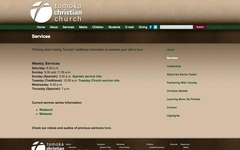 Screenshot of Services Page tomoka.cc - Services   Tomoka Christian Church - captured Oct. 9, 2014