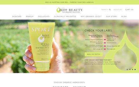 Screenshot of Home Page juicebeauty.com - Juice Beauty | The Purest Organic Skincare Products & Organic Makeup - captured July 14, 2018
