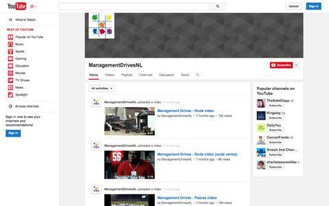 Screenshot of YouTube Page youtube.com - ManagementDrivesNL  - YouTube - captured Oct. 22, 2014