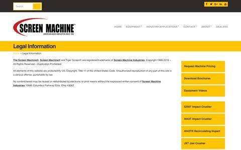 Screenshot of Terms Page screenmachine.com - Screen Machine Industries LLC Website Legal Information - Screen Machine Industries - captured Oct. 5, 2017