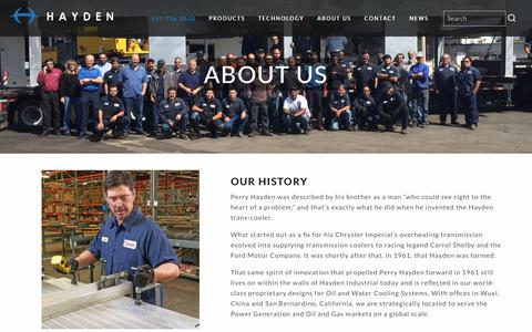 Screenshot of About Page haydenindustrial.com - Process Cooling Manufacturers - Industrial Process Cooling Technology | Hayden Industrial - captured Sept. 27, 2018