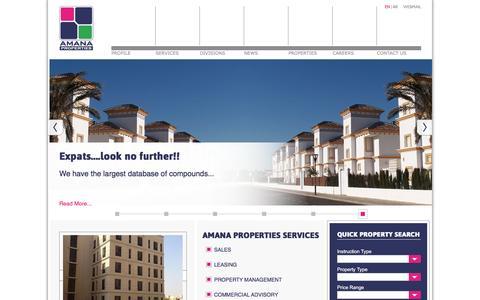 Screenshot of Home Page amana-properties.com - Amana Properties | Dammam, Saudi Arabia - Realestate For Sale, Rent, or Lease - captured Feb. 5, 2016