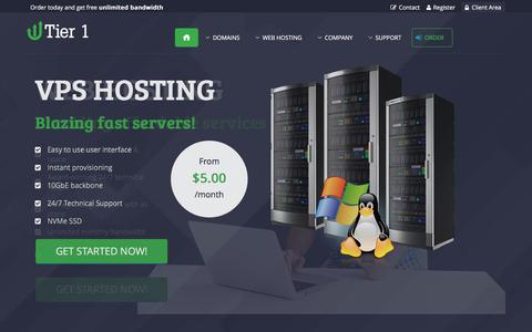 Screenshot of Home Page tier1.host - Professional Web Hosting - We provide solid web hosting & domain registration services! - captured July 10, 2018