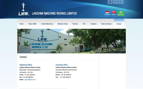 Screenshot of Contact Page lakshmimach.com - Contact - LAKSHMI MACHINE WORKS LIMITEDLAKSHMI MACHINE WORKS LIMITED - captured July 13, 2017
