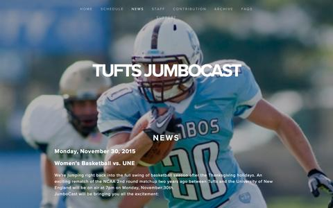Screenshot of Press Page jumbocast.com - News — Tufts JumboCast - captured March 11, 2016