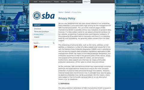 Screenshot of Privacy Page sba-rss.com - Privacy Policy   SBA Roll Shop Solutions — SBA Roll Shop Solutions - captured Oct. 1, 2018