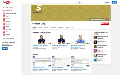 Screenshot of YouTube Page youtube.com - Sonasoft Corp  - YouTube - captured Oct. 25, 2014