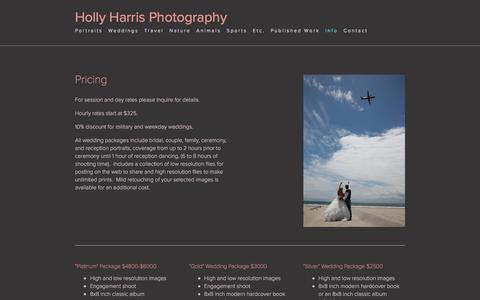 Screenshot of Pricing Page hollyharrisphotography.com - Holly Harris Photography - captured July 21, 2018