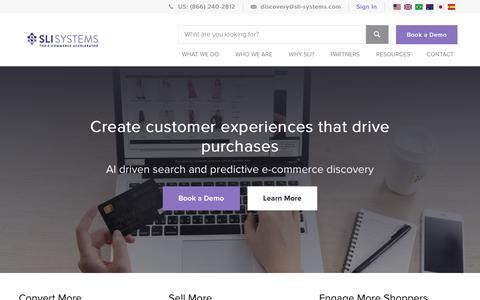 Screenshot of Home Page sli-systems.com - Enterprise E-commerce Solutions & Tools | SLI Systems - captured Oct. 26, 2018