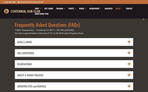 Screenshot of FAQ Page centennialgunclub.com - FAQs | Centennial Gun Club - captured Nov. 4, 2018