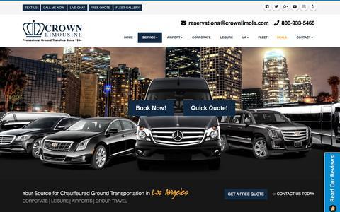 Screenshot of Services Page crownlimola.com - Los Angeles Limo Service | Limousine Service Los Angeles - captured Sept. 24, 2018