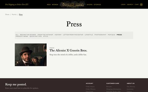 Screenshot of Press Page goorin.com - Press | Goorin Bros. Hat Shop - captured Sept. 29, 2018