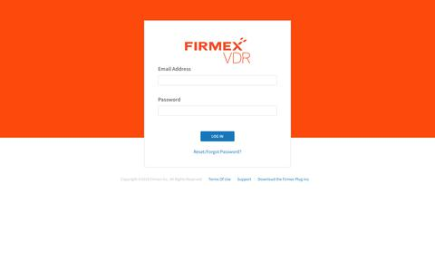 Screenshot of Login Page firmex.com - Firmex Virtual Data Room Login - captured April 13, 2018