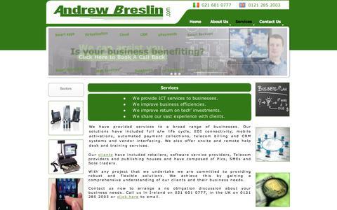 Screenshot of Services Page andrewbreslin.com - AndrewBreslin.com - Services - captured Feb. 6, 2016