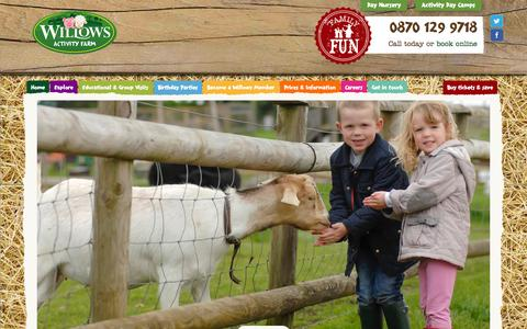 Screenshot of Home Page willowsactivityfarm.com - Willows Farm Village and Farm Park | Kids Day Out in Hertfordshire | Acres of fun for the whole family - captured Jan. 26, 2015