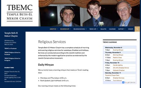 Screenshot of Services Page tbemc.org - Religious Services | TBEMC - captured Nov. 8, 2017