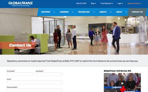 Screenshot of Contact Page globaltranz.com - Contact Us - GlobalTranz - New - captured Jan. 13, 2018