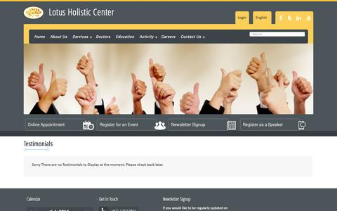 Screenshot of Testimonials Page lotusholistic.ae - Testimonials   Lotus Holistic Center - captured Feb. 1, 2016