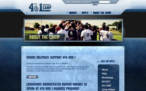 Screenshot of Press Page 4thand1.org - News - 4th and 1 Football Camp - Learn and Play - captured Sept. 30, 2014