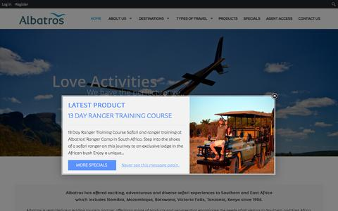 Screenshot of Home Page albatros-africa.com - Albatros Travel - Southern and East Africa - captured Oct. 17, 2015