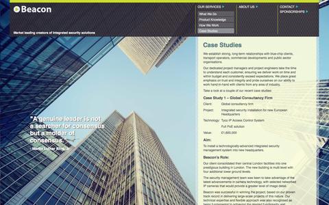 Screenshot of Case Studies Page beaconsec.co.uk - » Case Studies - captured Oct. 5, 2014