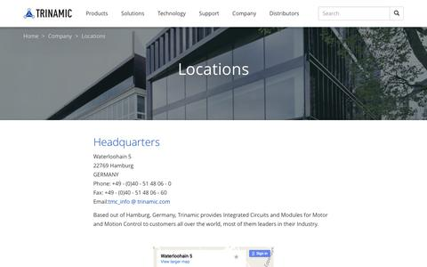 Screenshot of Locations Page trinamic.com - Locations - Trinamic - captured Dec. 16, 2016