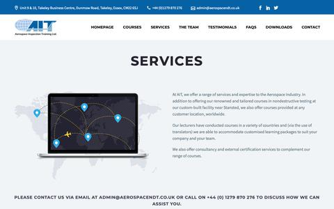 Screenshot of Services Page aerospacendt.co.uk - Services – Aerospace Inspection Training Limited - captured Oct. 3, 2018